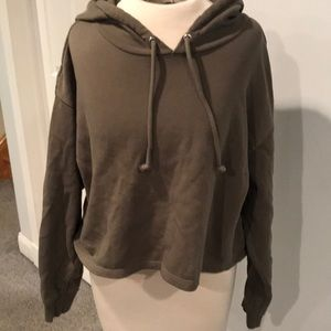 Divided cropped hooded sweatshirt long sleeve